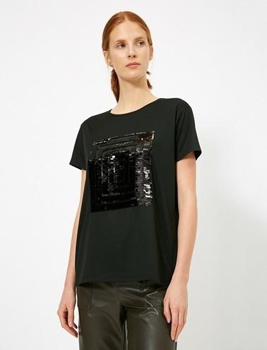 Koton Pul Payet Detaylı Bisiklet Yaka T-Shirt Siyah